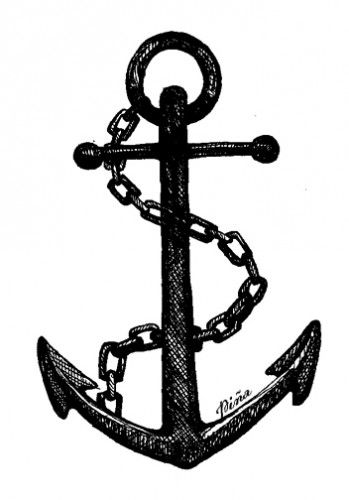 Anchor drawing with chain. Photo from www.pinastyles.com