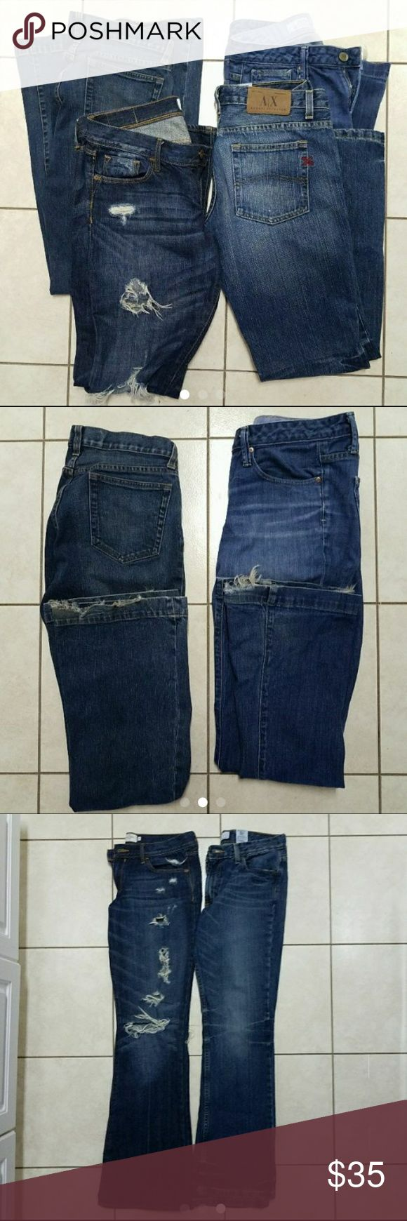 Women's jean bundle size 6 I have 2 two Gap long and Lean size 6 -  One Abercrombie and Fitch size 6 (with holes) worn like 4 times One Armani Exchange size 6 - never worn  I have overload in jeans - downsizing my jeans! Smoke and pet free home , I  take offers . Jeans