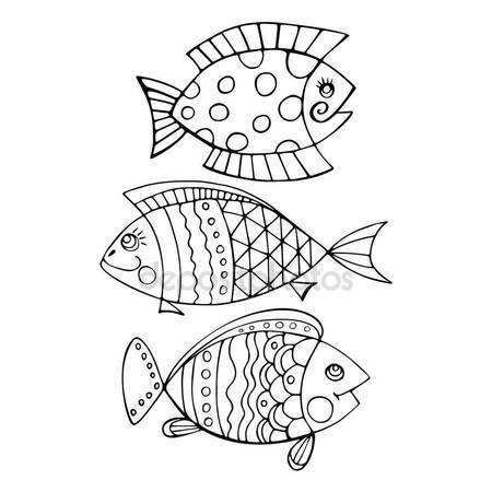 Скачать - Яркие декоративные рыбы рука нарисованные вектор — стоковая иллюстрация #135683256