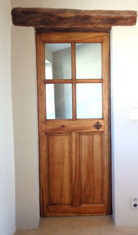 Porte vitr e 4 carreaux bois chaleureux et d coratif portes int rieures portes antiques for Porte vitree exterieure