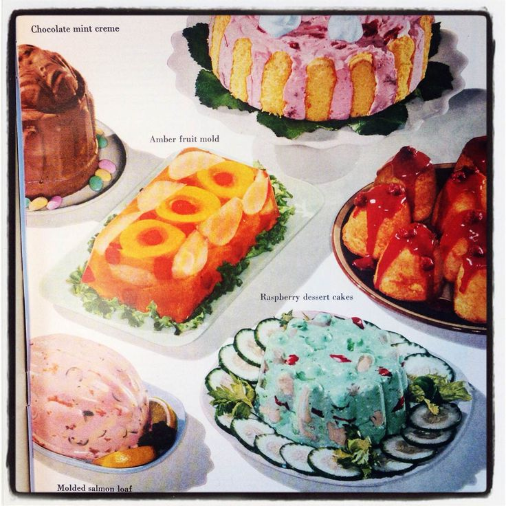 Molded salmon loaf, anyone? These vintage recipes appeared in a 1955 issue of Household magazine.