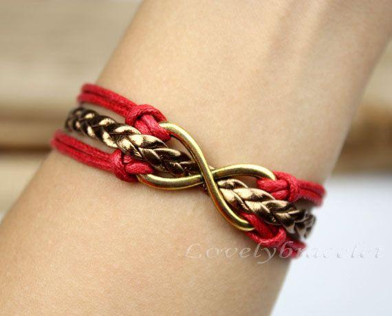 The best choice of gift - infinite hope bracelets, gold bracelet, karma wax rope bracelet
