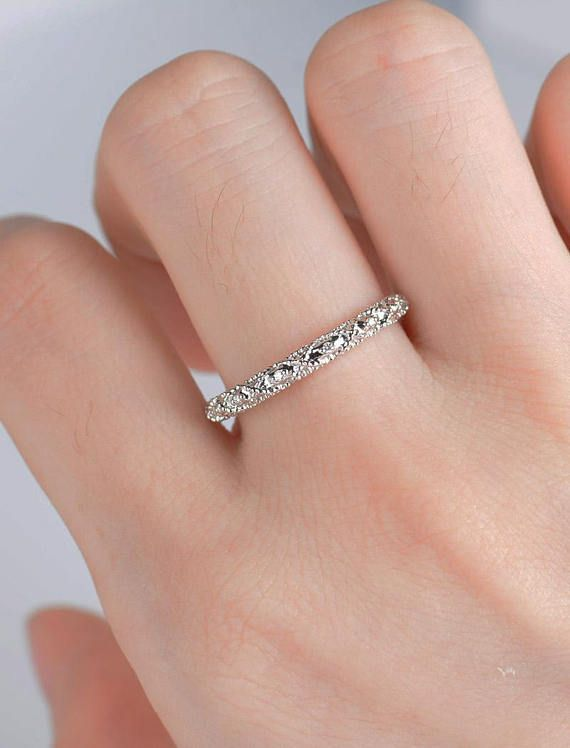 Art Deco Wedding Band White Gold Vintage Ring 3 4 Eternity Etsy In 2020 White Gold Vintage Rings Art Deco Wedding Rings Beautiful Wedding Rings