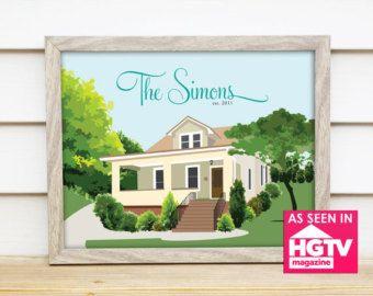 Accueil Portrait Illustration impression personnalisée ou numérique PDF - Home Sweet Home Dessin - première maison, anniversaire, Jeunes mariés ou nouveau propriétaire cadeau