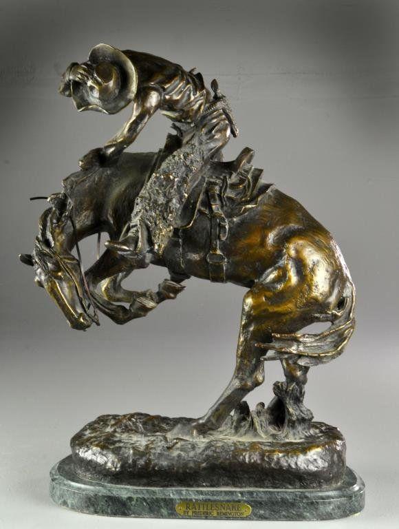 "Frederic Remington Sculptures | Frederic Remington ""Rattlesnake"" Bronze Sculpture"