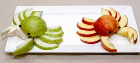 Apple crabs...great idea to get kids eating fruit!