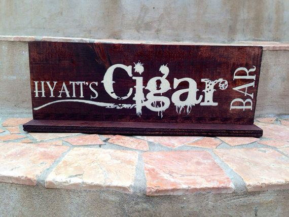 Custom cigar bar wedding sign dark stained by FromKellyWithLove