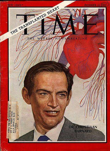 BO: Prof. Chris Barnard op die voorblad van die tydskrif Time, 15 Desember 1967. Die wêreld sou met nuwe oë kyk na die stand van die geneeskunde in Suid-Afrika, wat blykbaar reeds 'n graad van sofistikasie bereik het wat min mense verwag het.