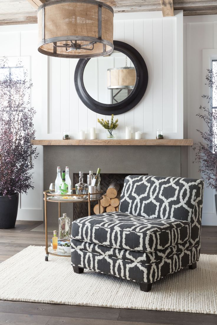 Update Your Living Room Decor With A Cocktail Cart Accompanied By Patterned Accent  Chair Or Chaise Lounge.