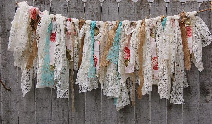 Boho lace rag garland
