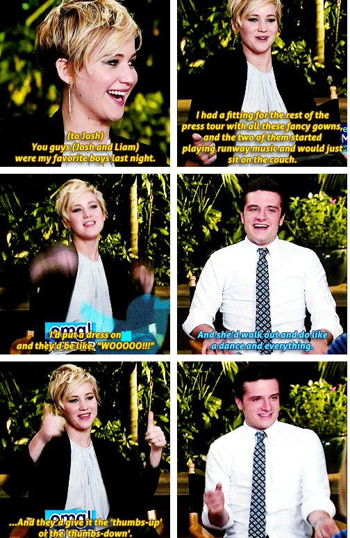 Jennifer Lawrence and Josh Hutcherson (+ Liam Hermsworth)  This is so frickin cute