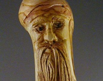 Hand Carved Cane with Curly Bearded, Pipe Smoking Wizard, Carved Root Cane, Turbanned Wizard Cane