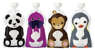 Re-usable Food Pouch, 130 mls - Fun Animals Designs – Dot NZ Shop