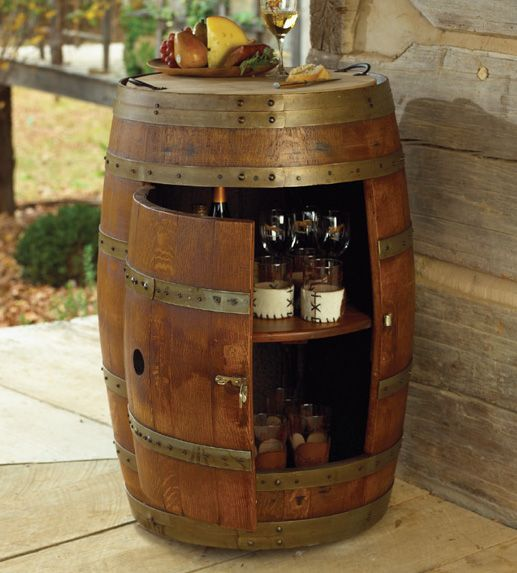 Love this wine barrell idea! Would look great in a huntin lodge :)
