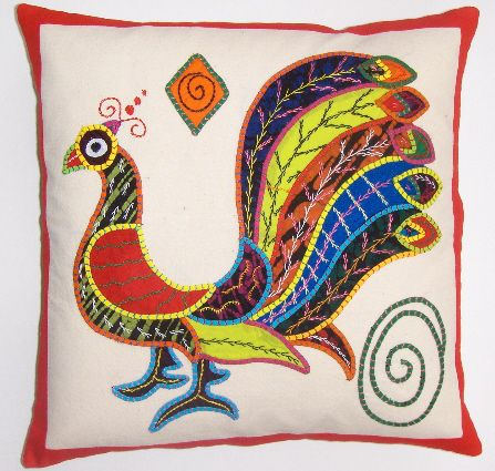Fabricadabra's hand appliqued batik pillow cover from Sri Lanka