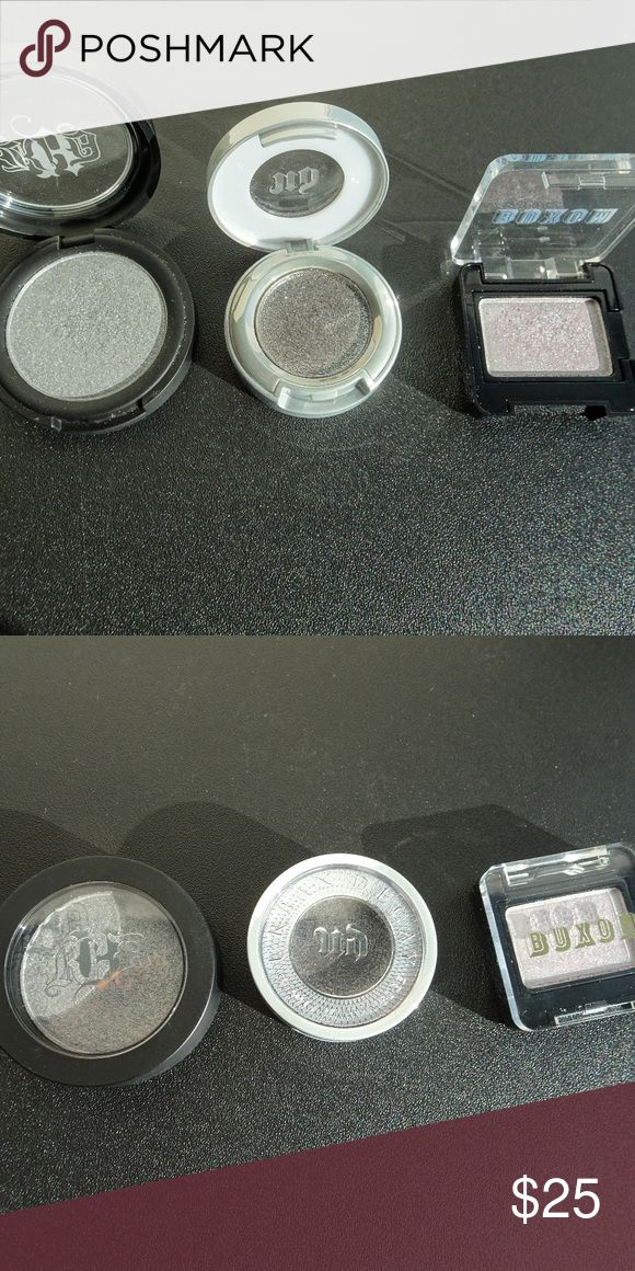 "Kat Von D, Urban Decay, Buxom Eyeshadows Listing is for all 3 eyeshadows (slightly used)  Kat Von D Metal Crush Eyeshadow in ""Static Age"" Urban Decay Moondust Eyeshadow in ""Moonspoon"" Buxom Single Eyeshadow in ""Silver Screen"" Sephora Makeup Eyeshadow"