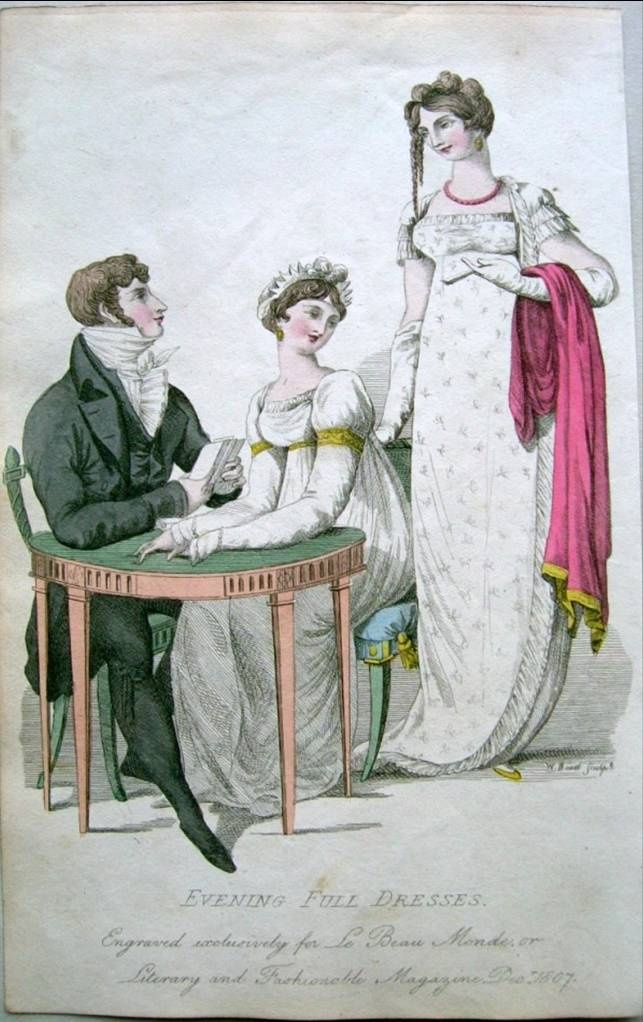 Formal full evening dress. Le beau monde, 1807