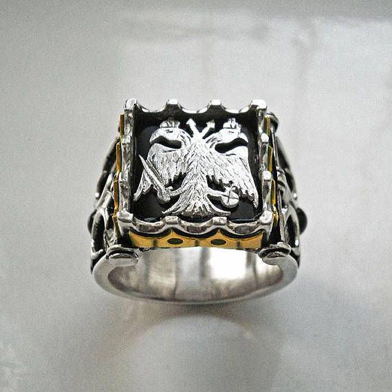 Mens silver ringDouble headed eagle ringsolid 18k gold