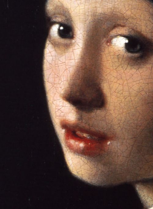 Johannes Vermeer,Girl with a Pearl Earring (detail), ca. 1665.  L'Aia, Mauritshius