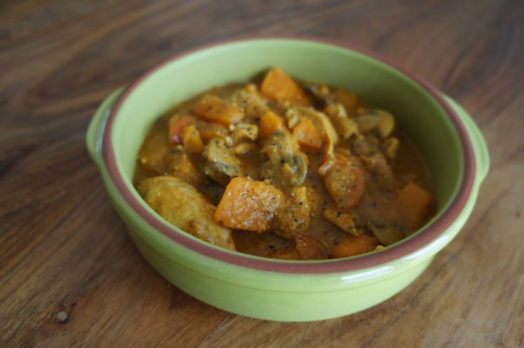 Slow Cooker Chicken, Mushroom and Sweet Potato Curry recipe. From slow cooker crock pot recipes app