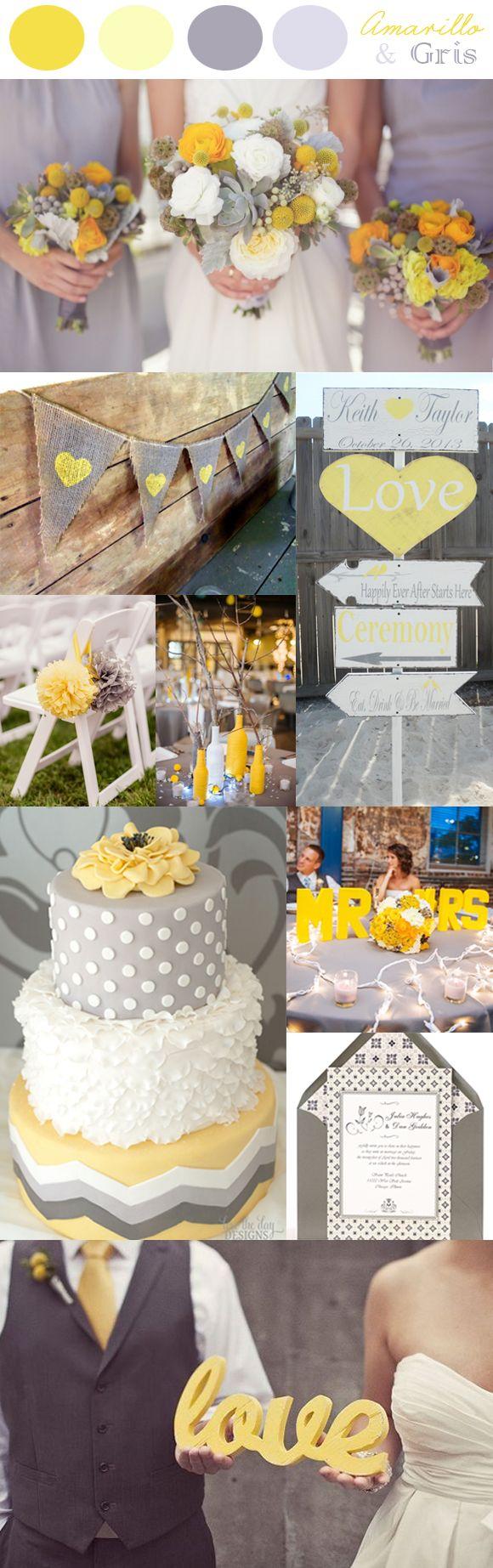 Ideas preciosas para bodas en amarillo y gris, una combinación ideal para bodas modernas y con un toque muy alegre.