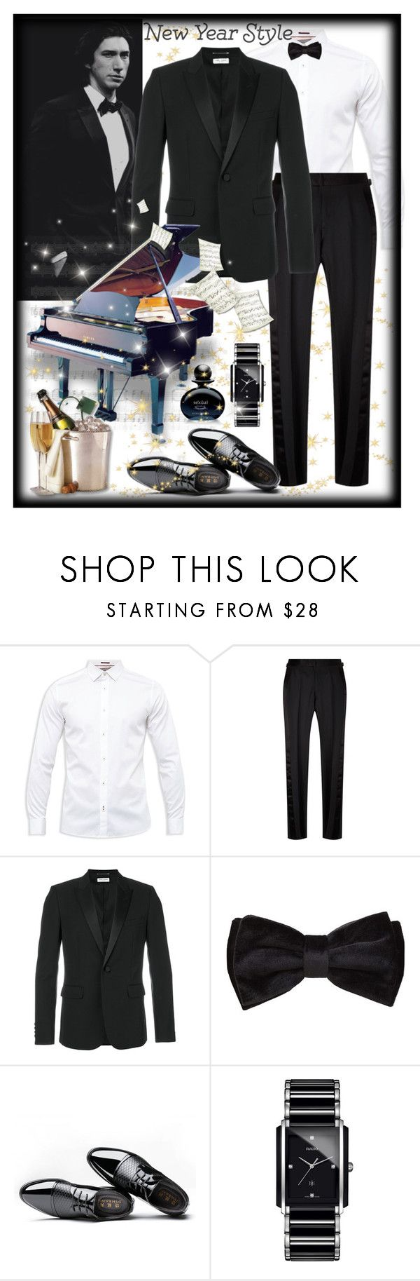 """""""Styled For The New Year's Eve"""" by giovanina-001 ❤ liked on Polyvore featuring Ted Baker, ADAM, Tom Ford, Yves Saint Laurent, MANGO, Rado, Michel Germain, men's fashion and menswear"""