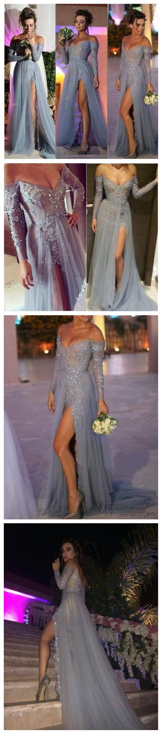 long prom dress, gray prom dress, lace prom dress, off shoulder v-neck prom…