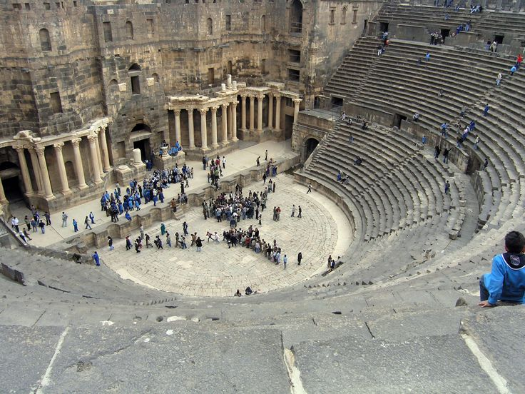 The Roman Theatre at Bosra (Arabic: المسرح الروماني ببصرى) is an ancient Roman theatre in Bosra, Syria. It was built in the second quarter of the 2nd century CE. It is the largest, most complete and best preserved theatre of all the Roman theatres in the Middle East, and was one of the largest theatres ever constructed in the Roman world.