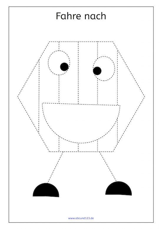 Fünf lustige geometrische Figuren zum Nachfahren #Feinmotorik #Nachfahren