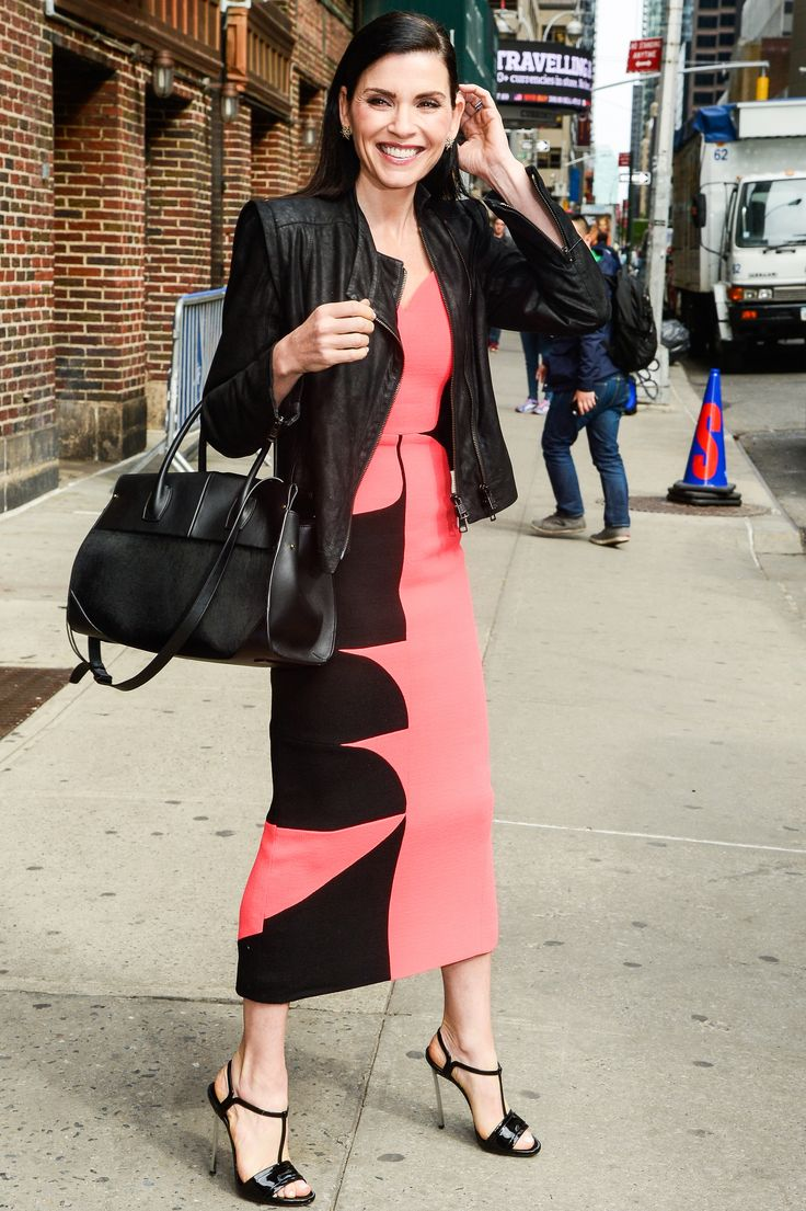 Pretty in pink! Julianna Margulies was spotted out and about in NYC on Friday, April 28.