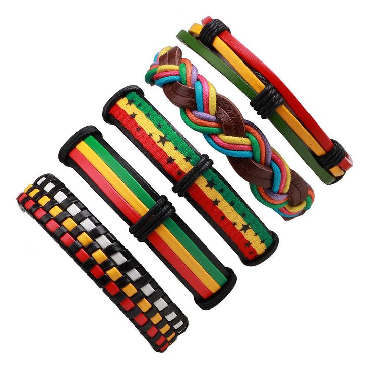 5PCs/set Leather Vintage Bracelet & Bangles Reggae Jamaica #Bracelet #Rasta #Rastafari #Reggae #RastaFashion #Positivity #PositiveVibration #HigherVibration #OneLove
