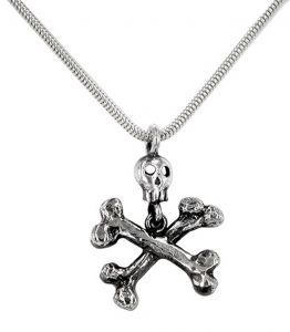 Skull and Crossed Bone necklace/pendant in sterling silver - $176