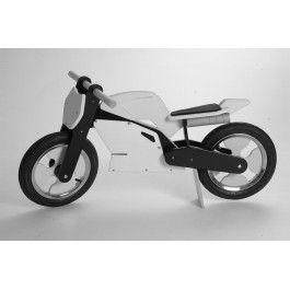 Kiddimoto superbike loopfiets wit met zwart. lijkt op een echte motor.