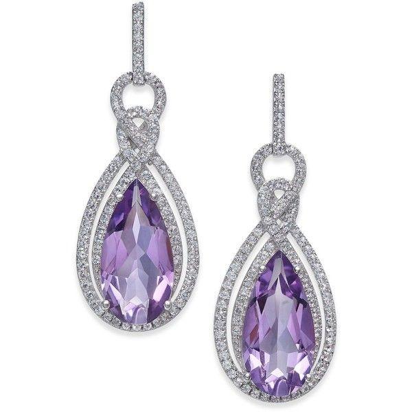 Amethyst (6 ct. t.w.) & White Topaz (1/2 ct. t.w.) Drop Earrings in... ($730) ❤ liked on Polyvore featuring jewelry, earrings, purple, teardrop earrings, sterling silver drop earrings, purple amethyst earrings, sterling silver teardrop earrings and tear drop earrings
