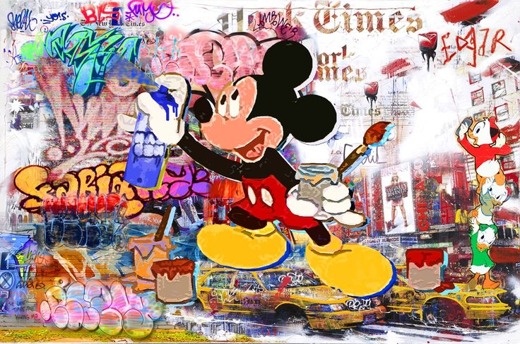 The Walls Shout Out Your Name, Mickey. (130x200cm). Nelson Fabiano's series of Disney figures, blended in the NYC street art aesthetics. In this series, Fabiano is paying his respect to the important cultural movement of street art, and reminiscence to his days as a graffiti artists, using the nostalgic figures that were a part of our childhood. #disney #art #mickeymouse #donaldduck #painting