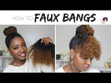 Curly Bangs and Faux Bun on Natural Hair !!    Protective Style    Hairstyles for Short 4 Hair Type - YouTube