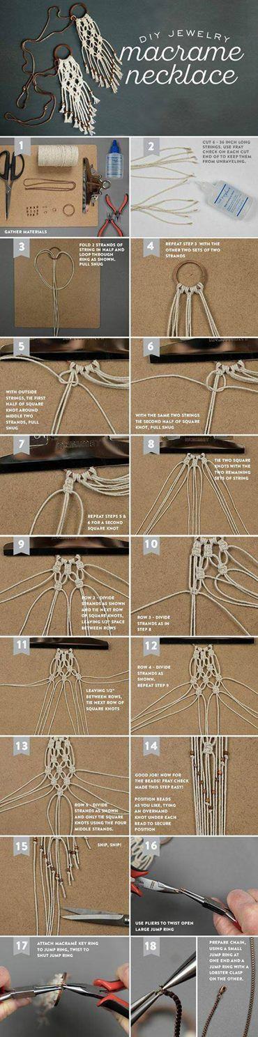 DIY Macrame Necklace   Ожерелье в технике макраме своими руками