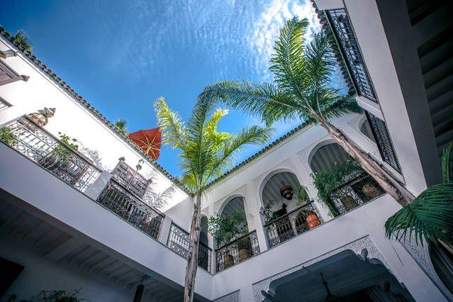 Riad Pachavana,  the patio and beautiful blue sky
