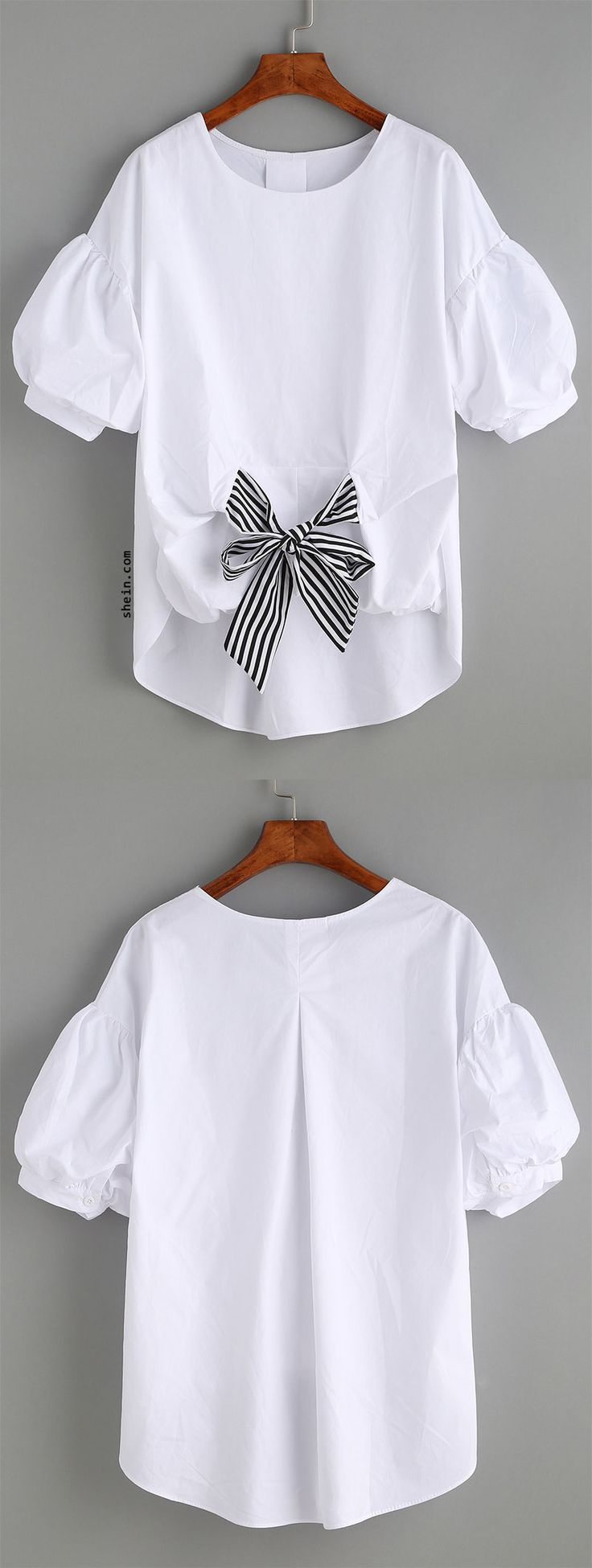 White Striped Tie Front Puff Sleeve Blouse http://bellanblue.com