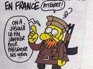 """Ilustração mais recente de Charb, morto no ataque à revista Charlie Hebdo (Foto: Reprodução/Twitter). Charge publicada em 31 de dezembro com o título """"Ainda não houve ataques na França"""", mostra um militante islâmico dizendo: """"Espere! Ainda temos até o fim de janeiro para apresentar nossos votos"""", em uma alusão aos desejos de Ano Novo."""