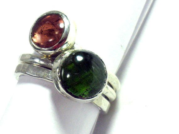 Stacking Gemstone Silver Ring-October by rioritajewelry on Etsy