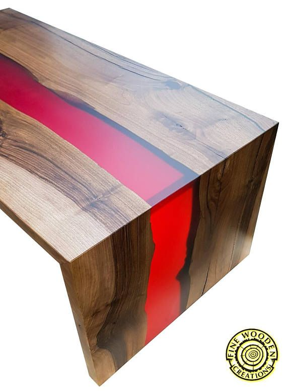 Double Waterfall River Coffee Table With Bordo Resin River