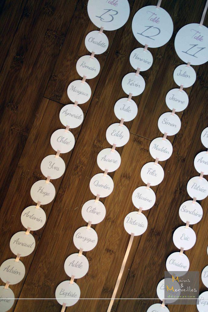 Plan de table - Ronds blancs sur ruban rose