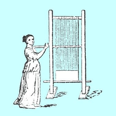 [image ALT: An engraving of an upright wooden frame with threads running from the top traverse bar to a bottom bar. It is an illustration of the ancient Roman loom.]