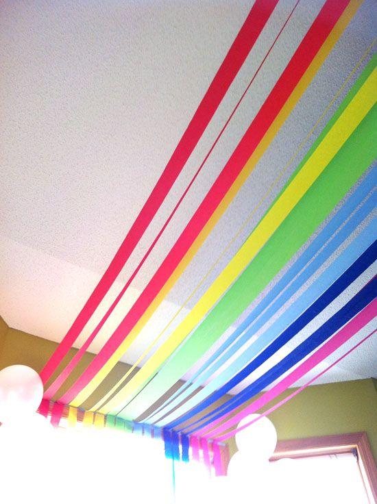 Rainbow party ceiling decor