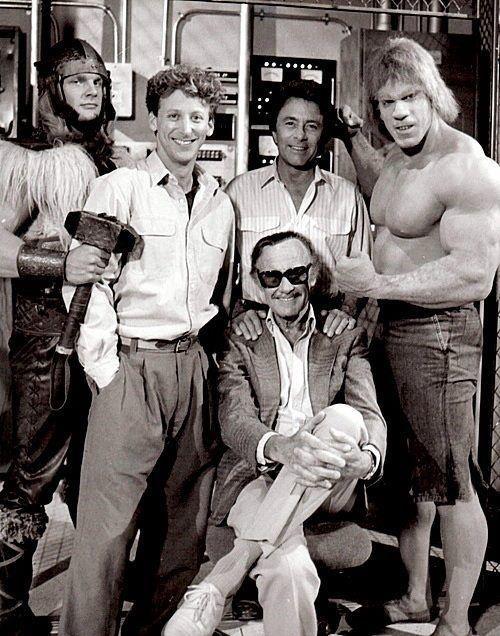 Thor (Eric Allen Kramer), Donald Blake (Steve Levitt), Dr. David Banner (Bill Bixby), the Incredible Hulk (Lou Ferrigno) and Stan Lee, the man who created the Hulk.