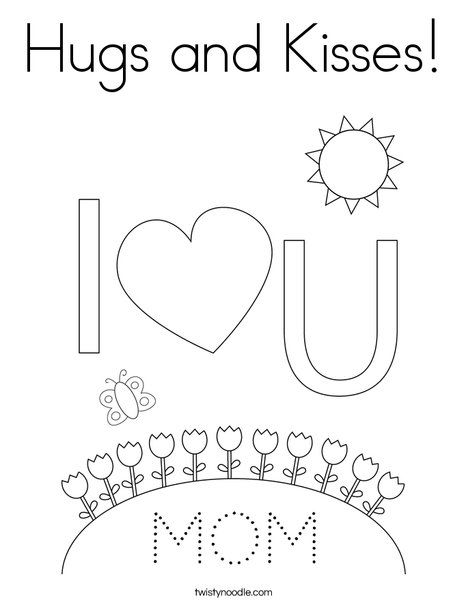 Hugs and Kisses Coloring Page - Twisty Noodle in 2020 ...