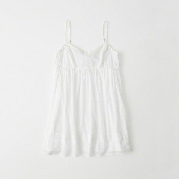 Abercrombie & Fitch Babydoll Dress ($58) ❤ liked on Polyvore featuring dresses, white, abercrombie fitch dresses, white v neck dress, babydoll dress, white baby doll dresses and bow back dress