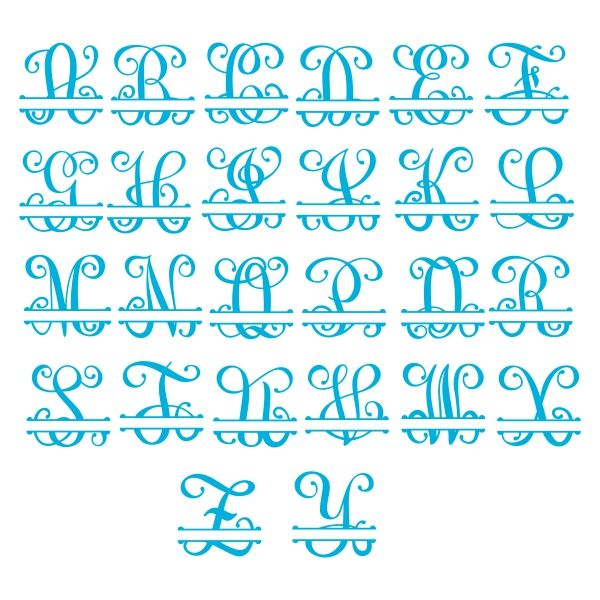 Download Interlocking Vine Split Monogram Cuttable Font | Cricut ...
