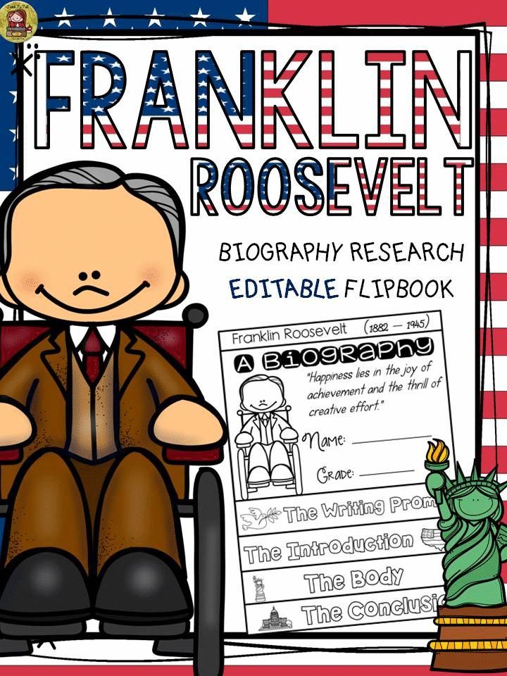 Make research on Franklin Roosevelt interesting and fun with this EDITABLE flipbook organizer. https://www.teacherspayteachers.com/Product/PRESIDENTS-DAY-BIOGRAPHY-FRANKLIN-ROOSEVELT-2375683